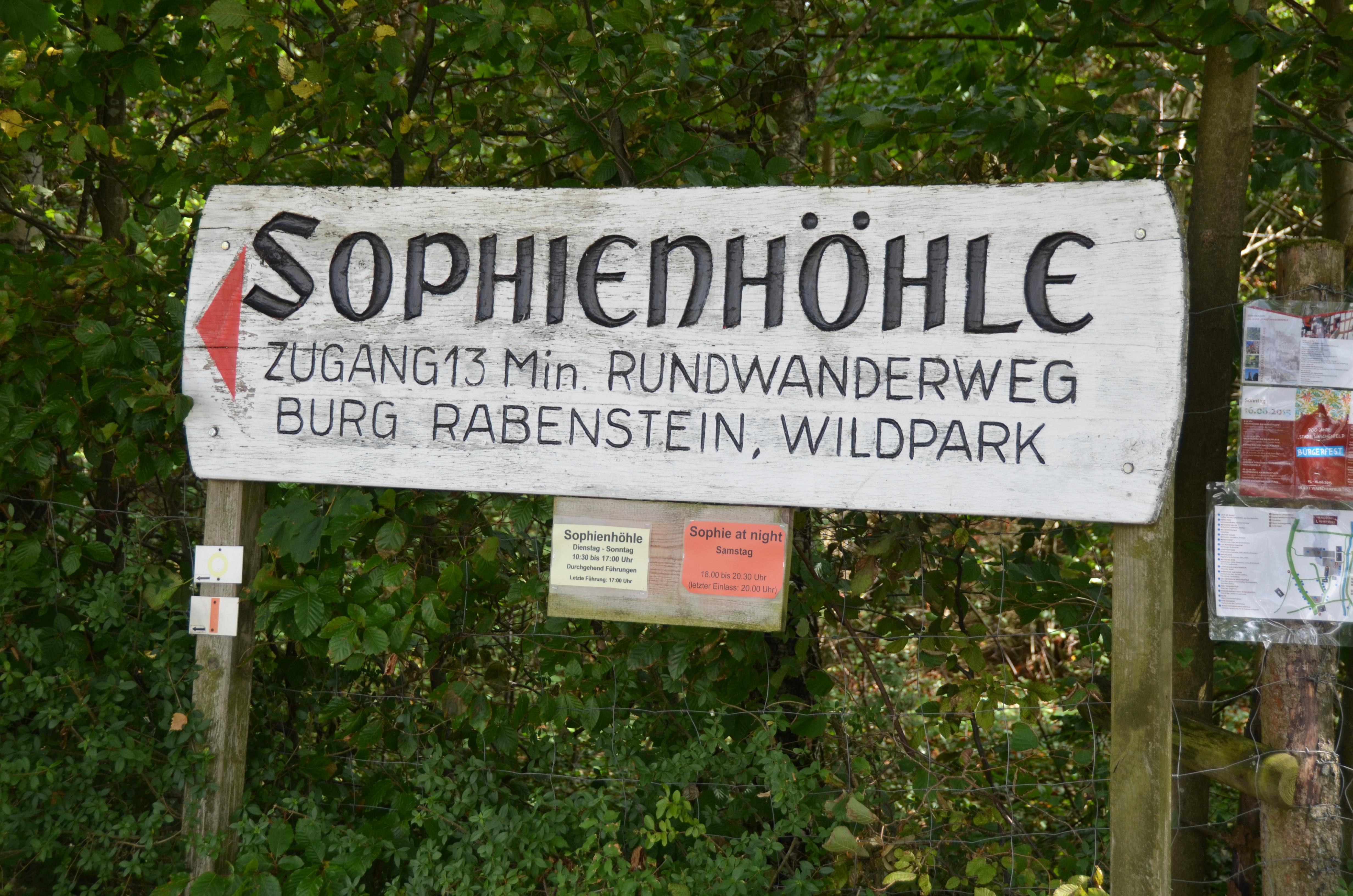 Sophienhöhle Schild